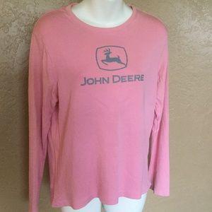 John Deere Pink Gray Logo Shirt M EUC